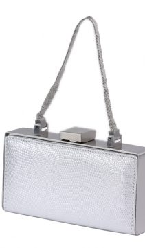 Silver-Lizard-Finish-Leather-Evening-Bag