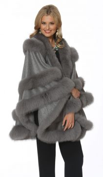cashmere cape with fox trim-soft grey-empress style