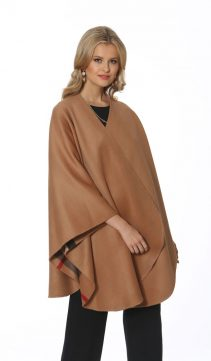 cashmere fur trim cape-check plaid reversible