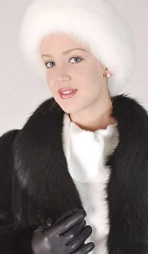fur headband-white fox fur adjustable headband for women