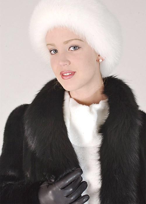 fur headband-white fox fur adjustable headband for women