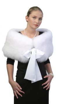 White-Fox-Capelet-Stole-Bow