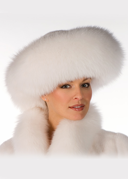 b87f170582598 Details about White Fox and Mink Fur Hat Large Brim Real Fur Hat for Women