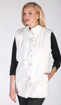 natural white rabbit fur vest-genuine real white fur rabbit vest for women