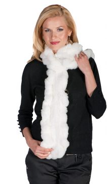 real natural fur scarf & muffler-natural white knitted ruffled fur scarf and muffler