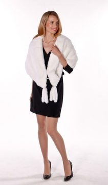 natural white fur-real rabbit fur stole for women-genuine fur stole