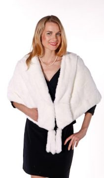 natural white fur cape stole-plus size-real rabbit fur cape stole