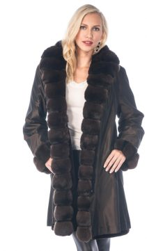 reversible sheared mink fur jacket-chinchilla trim 3/4 coat