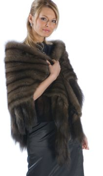 russian sable ruffled cape