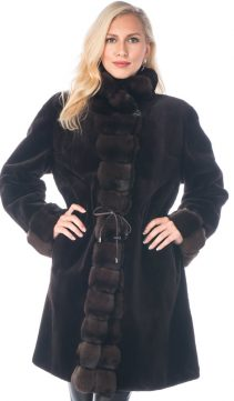 reversible original sheared mink fur coat-3/4 coat-chinchilla trim