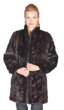 natural mahogany mink fur jacket-real mink jacket reversible