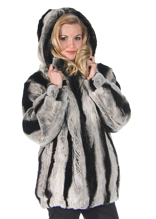 real rabbit fur jacket with hood-rex rabbit jacket chinchilla look