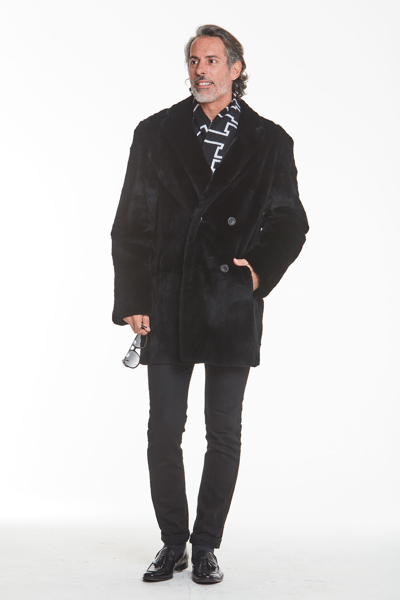 men's -fur-black-coat