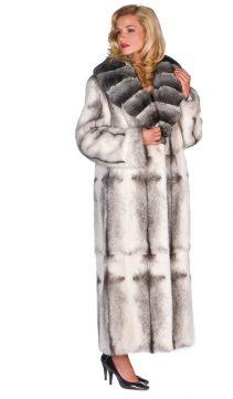 Chinchilla Shawl Collar-Black Mink Fur Long Coat-Crosscut