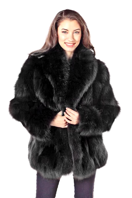 Natural Black Fox Fur Jacket For Women-Real Fox Fur Trimmed-Fur Jacket