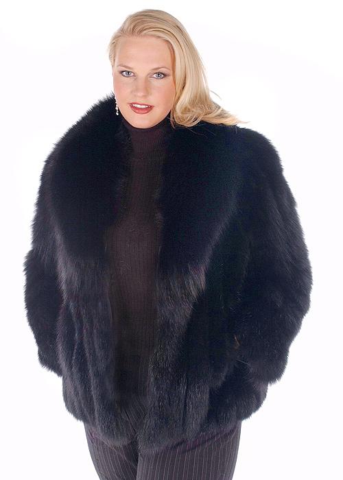 fox fur jackets for women-natural-black fox trim jacket-plus size
