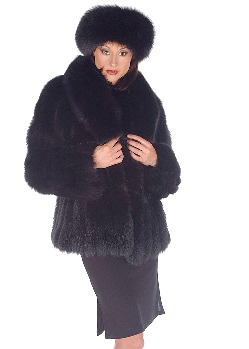 natural fox fur jacket-genuine fox fur jacket-black fox fur-shawl collar