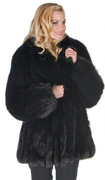 natural-black fox fur jacket coat-fox fur jacket-shawl collar
