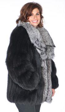 natural fox fur jacket-silver fox fur-shawl-collar-fox fur jacket plus size