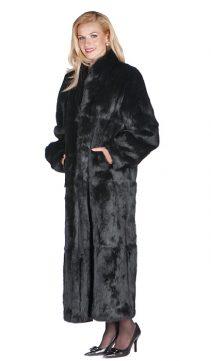 natural real rabbit fur long coat-women's full length rabbit fur coat-mandarin collar