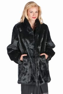 genuine real rabbit fur jacket for women-mandarin collar-natural black rabbit