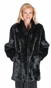 natural black rabbit fur jacket-mandarin collar-plus size