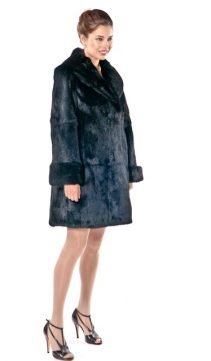rabbit fur jacket-womens black rabbit fur jacket-plus size-shawl collar