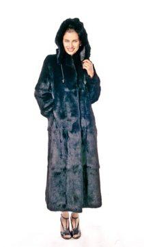 real black natural rabbit fur hooded jacket-detachable hood