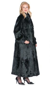 natural black rabbit fur full length coat-mandarin collar-plus size