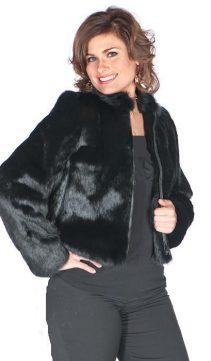 natural black real rabbit fur jacket-zippered-black rabbit fur natural-plus size