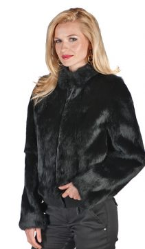 real black rabbit fur jacket-natural rabbit fur-zippered short jacket