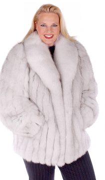 womens fox jacket-natural blue fox fur-plus size fox jacket