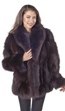 fox jakcet-real fox fur jacket-fox trim jacket-brown shawl collar-plus size