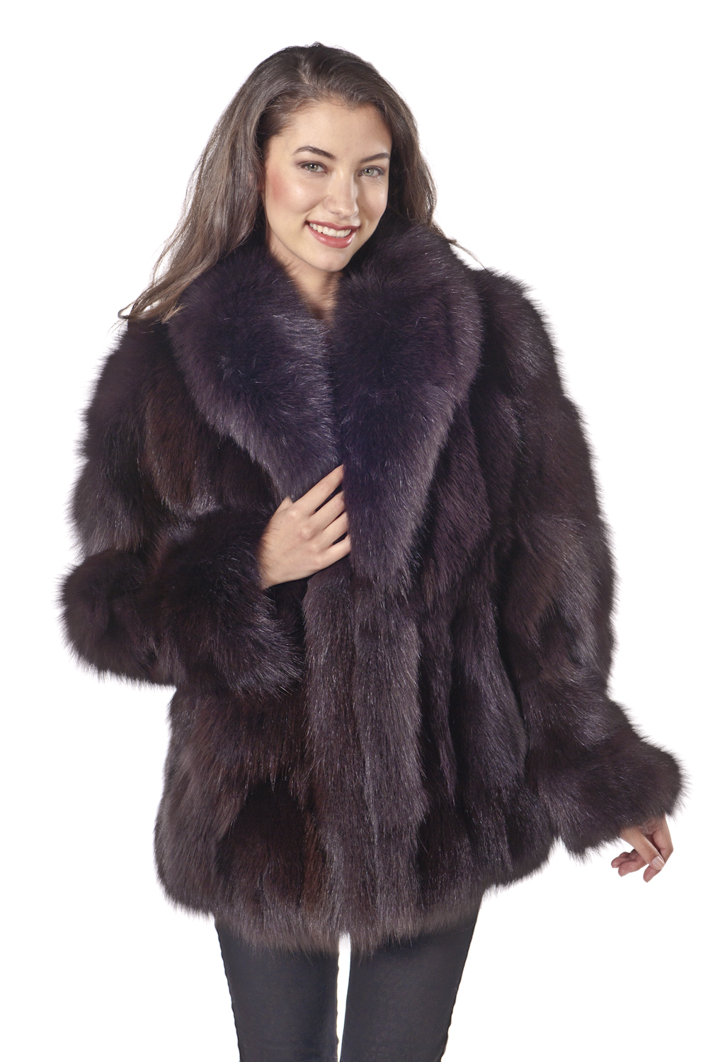 fox jakcet-real fox fur jacket-fox trim jacket-brown shawl collar-plus size