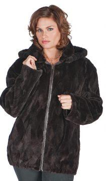 real mink fur sheared jacket-plus size-brown-detachable hood