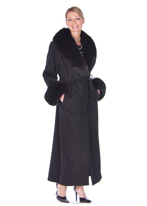 women's cashmere coat with fur collar-long black cashmere coat
