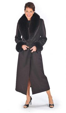 cashmere coat with fox collar-dark brown