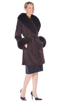 long cashmere wrap coat-fox fur coat-mahogany