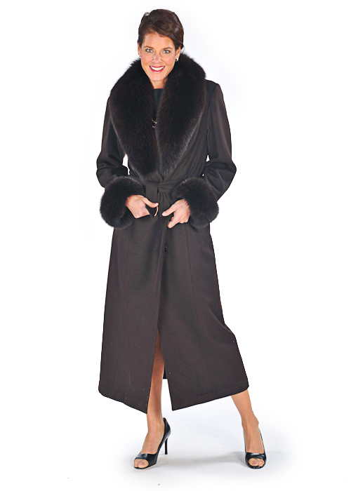women's pure cashmere coats-mahogany-plus size