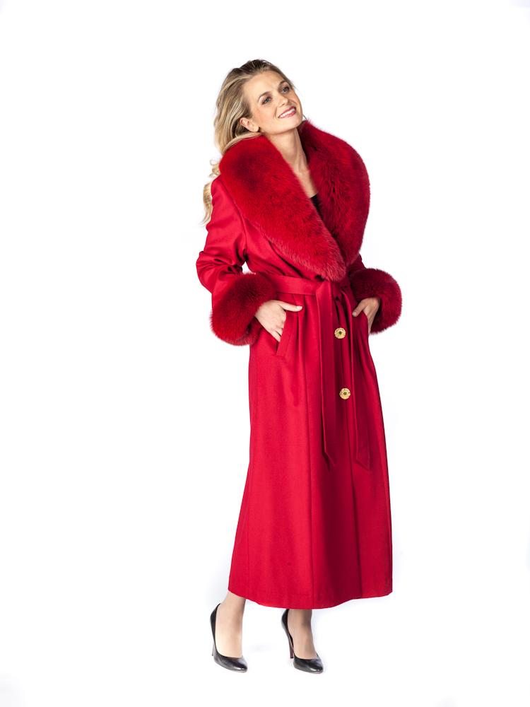 pure cashmere coat womens-red fox trim-red cashmere coat