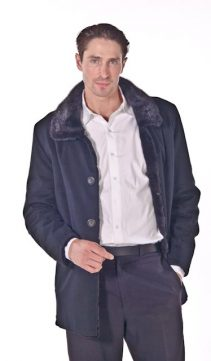 mens cashmere jacket-fur trimmed parka mens