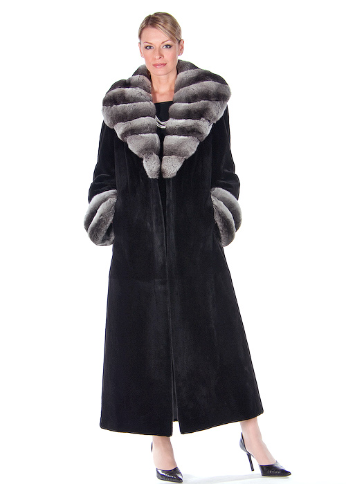sheared mink fur coat with chinchilla fur collar-natural black-full length