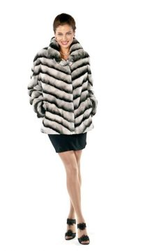 coat with rabbit fur lining-rex rabbit chinchilla fur coat-chevron design