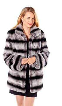 natural rex rabbit fur jacket chinchilla fur trim-classic wing collar