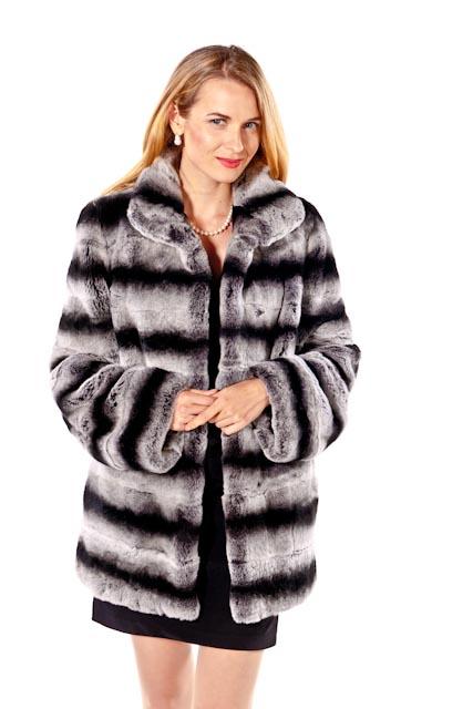 natural rex rabbit fur jacket chinchilla fur trim-classic wing collar