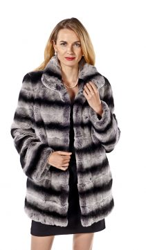 rex rabbit fur coat-chinchilla fur trim-wing collar-plus size