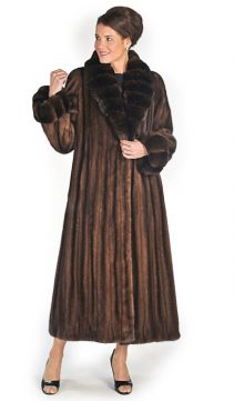 natural mink fur coat-soft brown-chinchilla shawl collar and cuffs