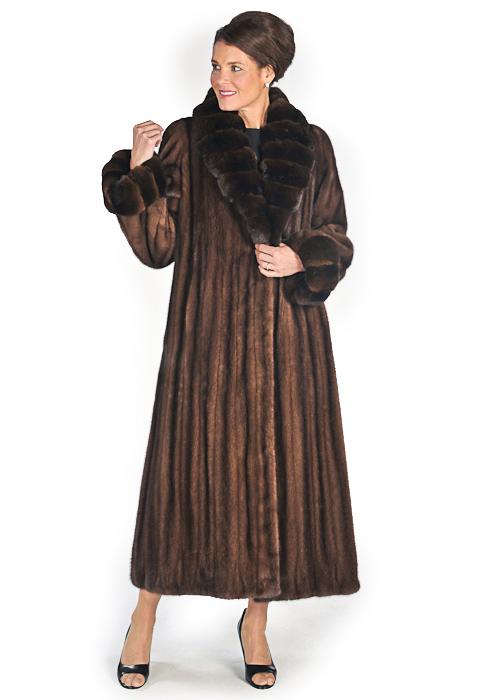 Chinchilla Shawl Collar Cuffs-Soft Brown Mink Coat | Madison ...