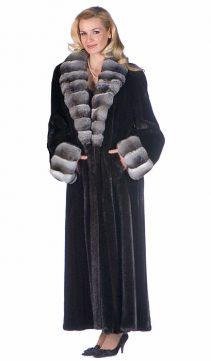 real mink fur coat-ranch mink-chinchilla shawl collar and cuffs