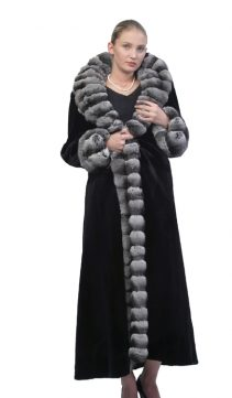 women's natural black mink coat with chinchilla trimmed-reversible